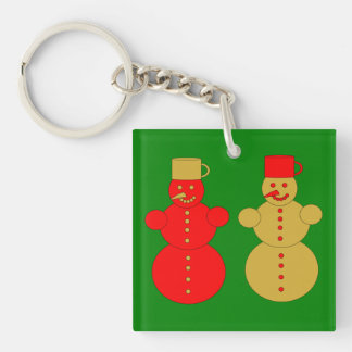 Red and golden snowmen keychain