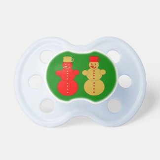 Red and golden snowmen pacifier