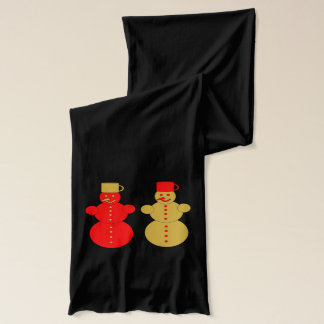 Red and golden snowmen scarf