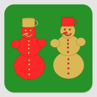 Red and golden snowmen square sticker