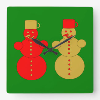 Red and golden snowmen square wall clock