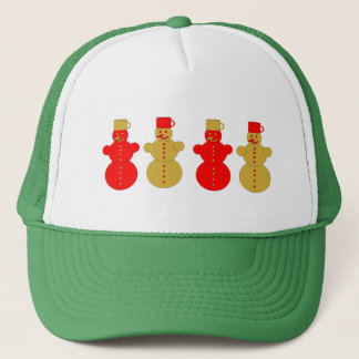 Red and golden snowmen trucker hat