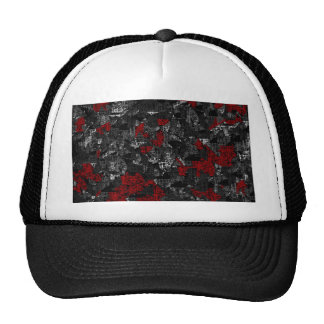 Red and gray abstract art cap
