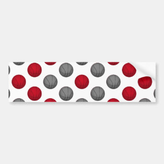Red and Gray Basketball Pattern Bumper Sticker