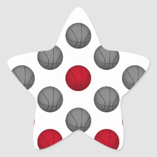 Red and Gray Basketball Pattern Star Sticker