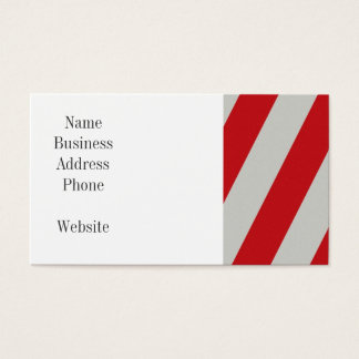 Red and Gray Candy Cane Diagonal Stripes Pattern Business Card