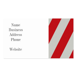Red and Gray Candy Cane Diagonal Stripes Pattern Business Cards