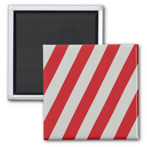 Red and Gray Candy Cane Diagonal Stripes Pattern Fridge Magnet