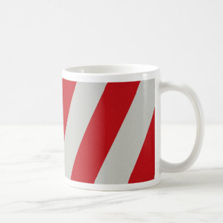 Red and Gray Candy Cane Diagonal Stripes Pattern Coffee Mugs