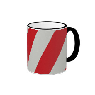 Red and Gray Candy Cane Diagonal Stripes Pattern Mugs