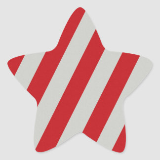 Red and Gray Candy Cane Diagonal Stripes Pattern Star Sticker