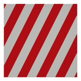 Red and Gray Candy Cane Stripes Pattern Gifts Print
