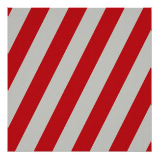 Red and Gray Candy Cane Stripes Pattern Gifts Poster
