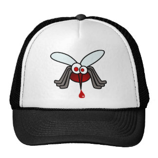 Red and Gray Cartoon Mosquito with Drop of Blood Hat
