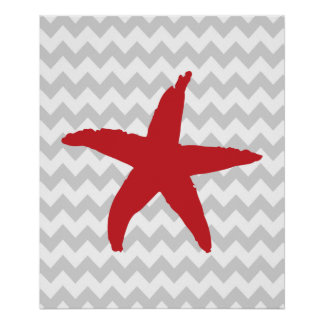 Red and Gray Chevron Nautical Sea Star Poster
