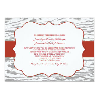 Red and Gray Chic Wood Grain Wedding Invitation