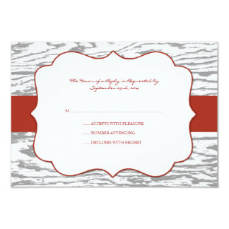 Red and Gray Chic Wood Grain Wedding rsvp Custom Announcement
