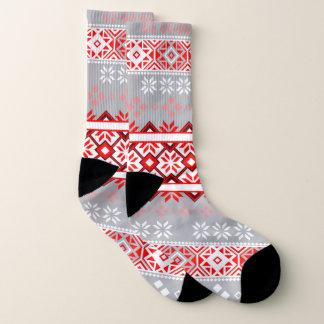 Red and Gray Fair Isle Snowflake Socks 1