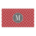 Red and Gray Geometric Pattern Monogram Business Card Templates