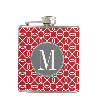 Red and Gray Geometric Pattern Monogram Hip Flask