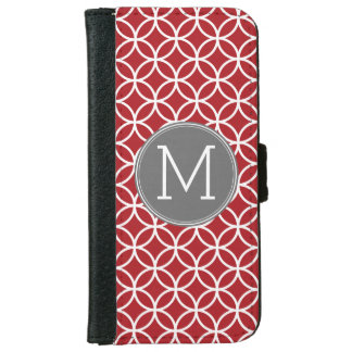 Red and Gray Geometric Pattern Monogram iPhone 6 Wallet Case