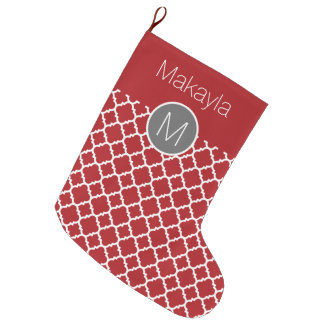 Red and Gray Geometric Pattern Monogram Large Christmas Stocking