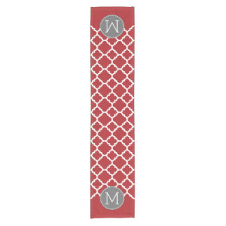 Red and Gray Geometric Pattern Monogram Short Table Runner