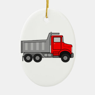 Red and Gray/Grey Cartoon Dump Truck Ceramic Oval Decoration