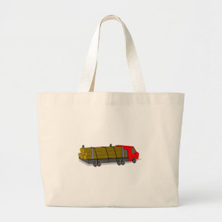 Red and Gray/Grey Logging Truck Transporting Logs Tote Bags