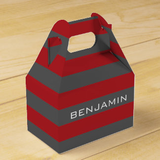 Red and Gray Rugby Stripes with Custom Name Favour Box