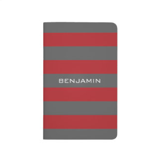 Red and Gray Rugby Stripes with Custom Name Journal