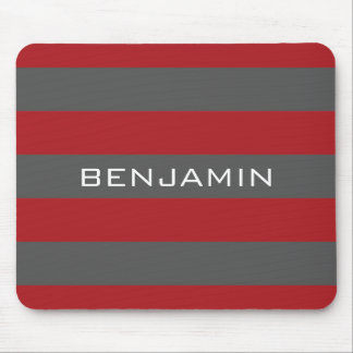 Red and Gray Rugby Stripes with Custom Name Mouse Mat