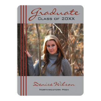 Red and Gray Striped Graduation Photo Invitation