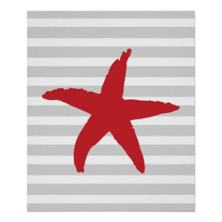 Red and Gray Striped Nautical Sea Star Print
