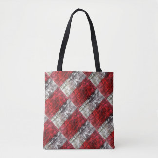 Red And Gray Textured Rectangles Retro Pattern Tote Bag