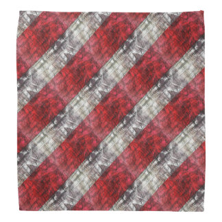 Red And Gray Textured Stripes Bandana