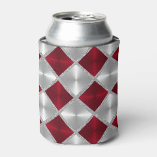 Red and Gray with Silver Squares Can Cooler