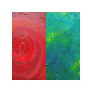 Red and green abstract art wrapped canvas print