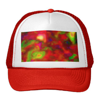 Red and green abstract picture hat