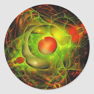 Red and Green Abstract Round Sticker