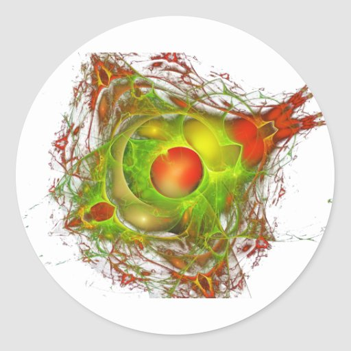 Red and Green Abstract Round Stickers