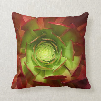Red and Green Aeonium Succulent Throw Cushion