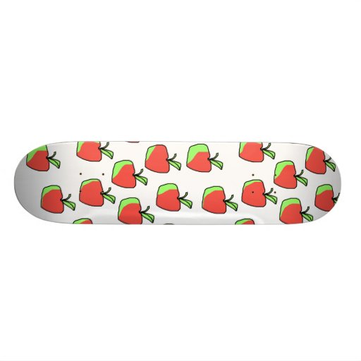 Red and Green Apple Pattern. Skate Deck