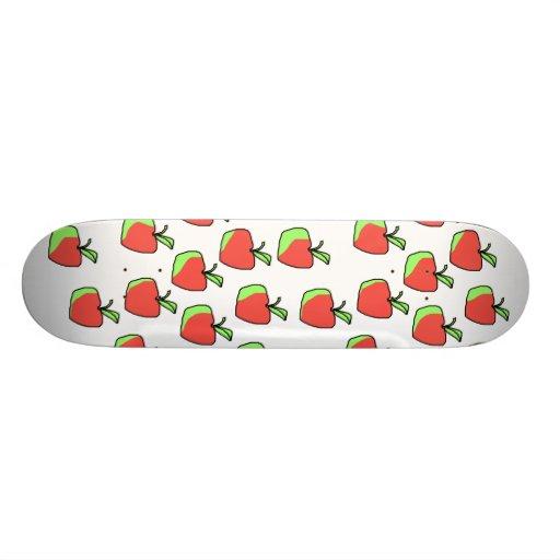 Red and Green Apple Pattern. Custom Skateboard