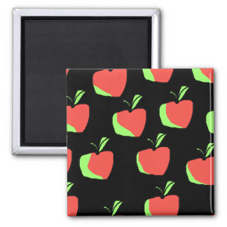 Red and Green Apple Pattern. Square Magnet