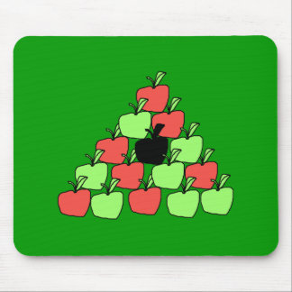 Red and Green Apples Pool Balls Triangle Mousepads