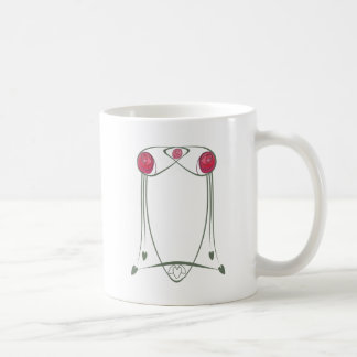 Red and Green Art Nouveau Roses Design Coffee Mug
