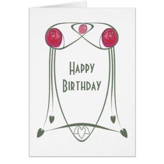 Red and Green Art Nouveau Roses Design Greeting Card