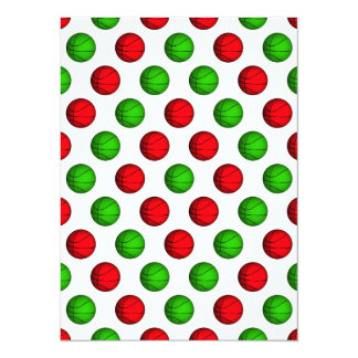 Red and Green Basketball Pattern Card