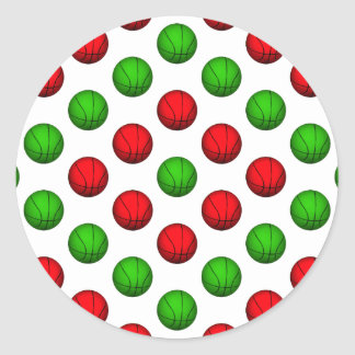 Red and Green Basketball Pattern Sticker
